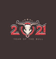 2021 symbol year bull vector image vector image