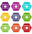 3d model icon set color hexahedron vector image vector image