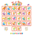 Alphabet with pictures for children vector image vector image