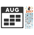 August Calendar Grid Flat Icon With Bonus vector image vector image