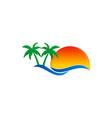 beach travel pine tree tropic logo vector image