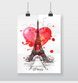 Beautiful hand-draw poster Paris and watercolor vector image vector image