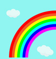 beautiful rainbow in bright sky with clouds vector image vector image