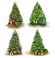 box gifts under fir-tree at new year or xmas eve vector image