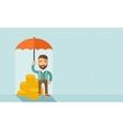 Businessman with umbrella vector image