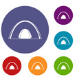 camping dome tent icons set vector image vector image