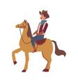 cartoon cowboy man in costume riding a horse vector image vector image