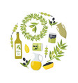cartoon olive oil elements round design template vector image