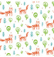 childish pattern with sketch foxes in forest vector image vector image
