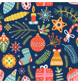 christmas decorative seamless pattern holiday vector image