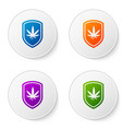 Color shield and marijuana or cannabis leaf icon