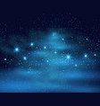 cosmic space dark sky background with blue bright vector image