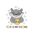 cute baby raccoon with chip cookie great for kids vector image