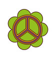 cute flower with peace symbol vector image
