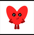 cute heart cartoon angry character white vector image