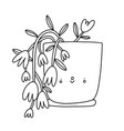 cute houseplant in a pot outline cartoon vector image