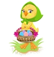 Easter - chicken holding a basket of eggs vector image