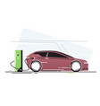 electric car at vehicle charging station vector image