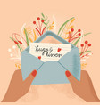 envelope with love letter and hands colorful vector image vector image