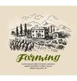 Farm sketch Rural landscape agriculture farming vector image vector image