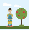 farmer and basket with apples vector image vector image