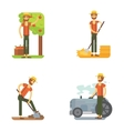 Farmer harvests fruits and vegetables caring vector image vector image