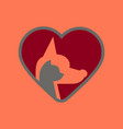 flat icon on background cat dog heart vector image vector image