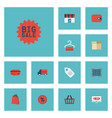 flat icons label bus payment and other vector image vector image