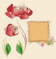 floral card and cute frame for text vector image vector image
