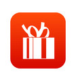 gift box with ribbon icon digital red vector image