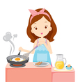 Girl Cooking Fried Egg For Breakfast vector image