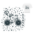 hand drawn vintage print label with bicycle and vector image vector image