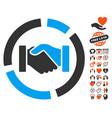 handshake diagram icon with valentine bonus vector image vector image
