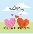 happy valentines day cute kawaii hearts love vector image