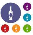 holiday bottle icons set vector image vector image