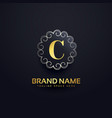 letter c logo with swirls decoration vector image