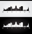 madison usa skyline and landmarks silhouette vector image vector image
