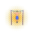 Man pulling up on horizontal bar icon comics style vector image vector image