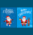 merry christmas greeting cards santa claus skating vector image vector image