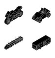motorcycle golf cart train bus transport set vector image vector image