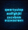 neon style font glowing neon alphabet with vector image