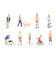 people with disabilities in style of vector image vector image