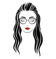 portrait a girl with glasses head vector image vector image