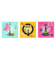realistic traditional hookah cards set vector image vector image