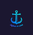 refuse to sink with nautical anchor vector image