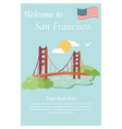 san francisco poster with golden gate bridge vector image vector image