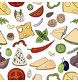seamless food pattern with cheese and vegetables vector image vector image