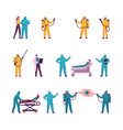 set characters coronavirus disinfection people vector image