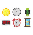 set clocks on a white background vector image vector image