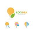 set of lamp logo combination lightbulb and eco vector image vector image